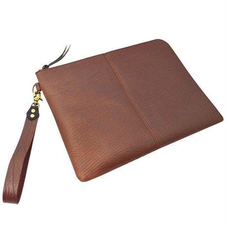 レザークラッチバッグ 牛革 ブリーフケース ブラウン アザラシ型押し ストラップ付き A4ファイル対応 10006575