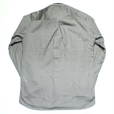 VUMPS ジャージストライプ ストレッチ長袖ボタンダウンシャツ グレー