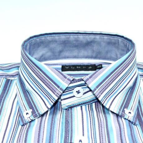 VUMPS マルチストライプドレスシャツ ブルー