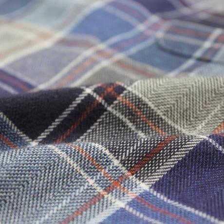 VUMPS クラシックチェック 長袖起毛ネルシャツ ブルー