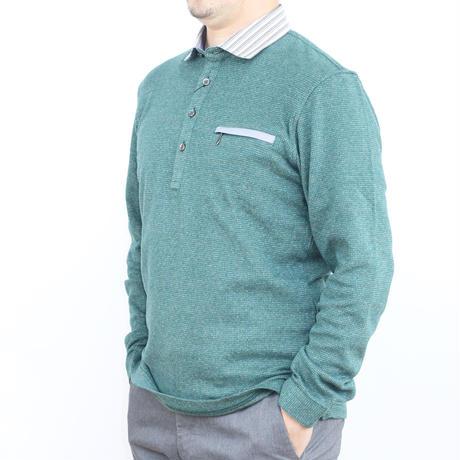 VUMPS リバーエース 起毛長袖ポロシャツ グリーン