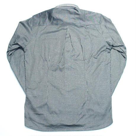 VUMPS ジャージストライプ ストレッチ長袖ボタンダウンシャツ ブルー
