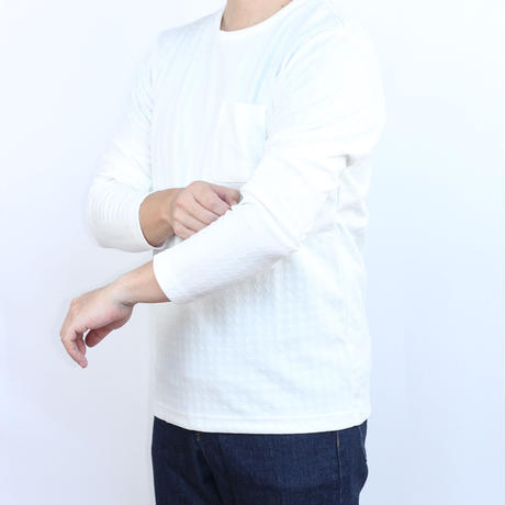 VUMPS ブリスタージャガード 長袖Tシャツ ホワイト