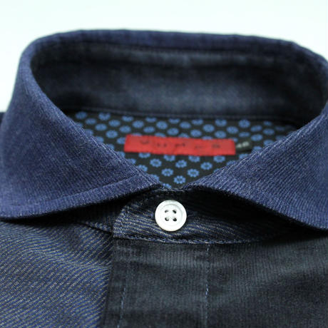 VUMPS RED 生地切替 パッチワークシャツ ブルー