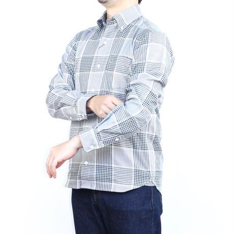 VUMPS ビッグチェック 長袖起毛ネルシャツ グリーン