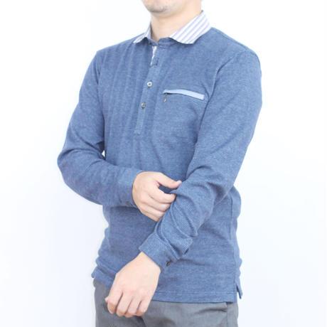 VUMPS リバーエース 起毛長袖ポロシャツ ブルー