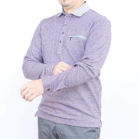 VUMPS リバーエース 起毛長袖ポロシャツ パープル