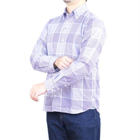 VUMPS ビッグチェック 長袖起毛ネルシャツ パープル