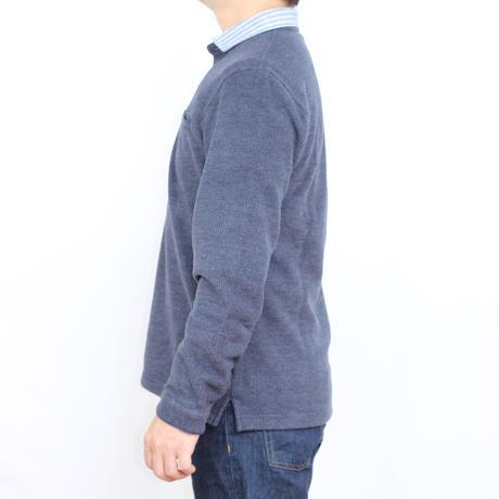 VUMPS 鹿の子スムース長袖ポロシャツ ブルー