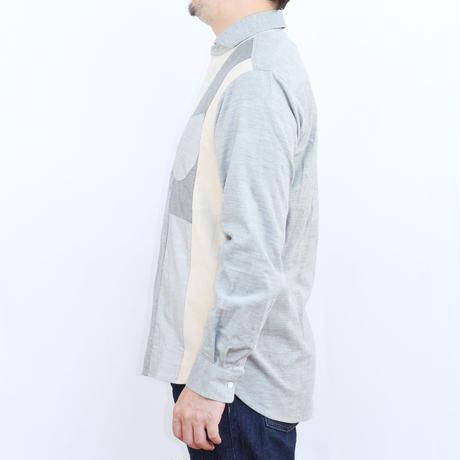 VUMPS RED 生地切替 パッチワークシャツ グレー