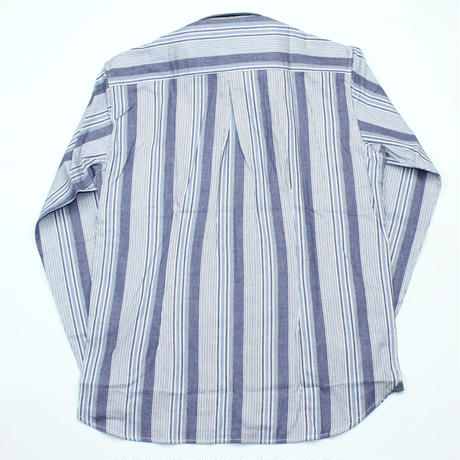 VUMPS マルチストライプ 長袖起毛ネルシャツ ブルー