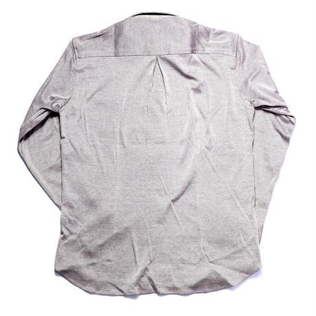 VUMPS ストレッチバーズアイ 長袖ボタンダウンシャツ ライトパープル