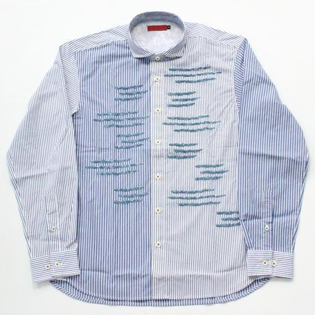 VUMPS シェニール刺繍ストライプシャツ