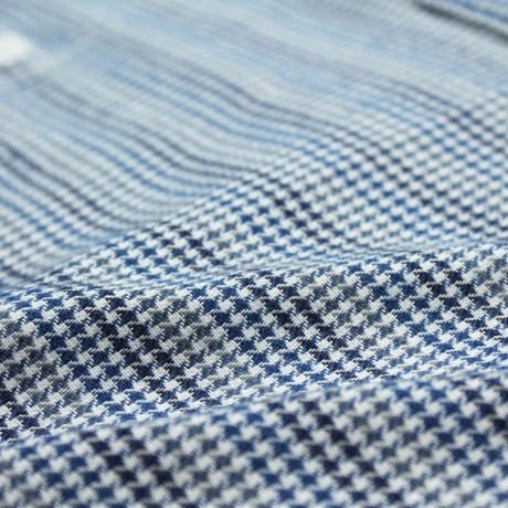 VUMPS ハウンドトゥース 長袖起毛ネルシャツ ブルー
