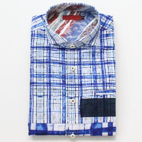 VUMPS ポリエステルプリント ビッグチェックシャツ