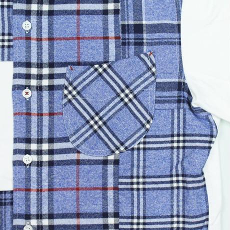 VUMPS RED クレイジーパターン切替シャツ ブルー
