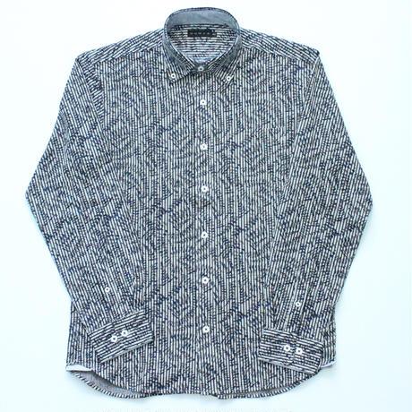 VUMPS リーフプリント ニットサッカーシャツ
