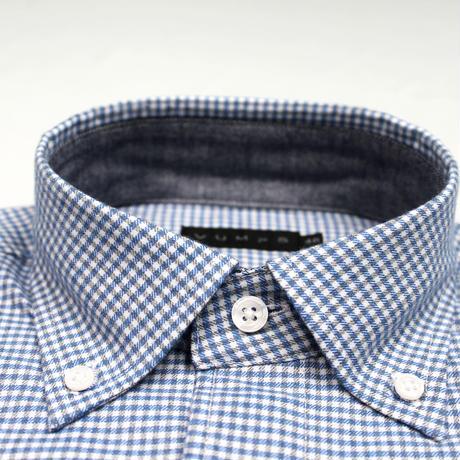 VUMPS ギンガムチェック 長袖起毛ネルシャツ ブルー