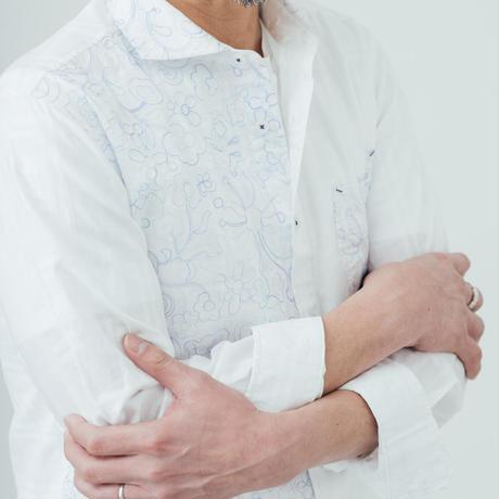 VUMPS RED 切替エンブロイダリーシャツ