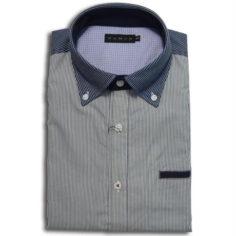 VUMPS 布帛×ジャージ切替ストライプBDシャツ