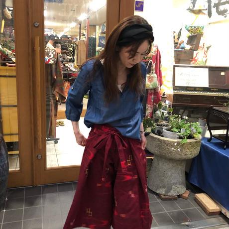 ウール着物のタイパンツ風ワイドパンツ