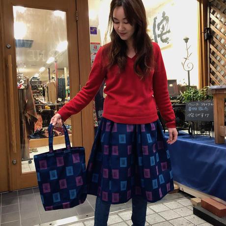 ウール着物生地で作ったスカート&共布バッグコンビ