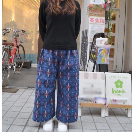 着物生地で作ったワイドパンツ☆ブルースター