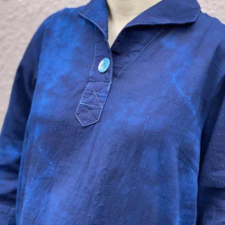 大特価!!2021定番!! 藍染めチュニック 着丈82cm 濃淡染め技法