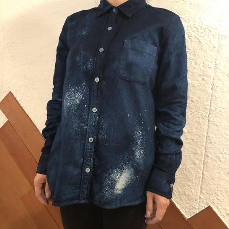 オールシーズンに活躍! 『一点物』女性用藍染めシャツ 星空風流柄&濃淡染め技法『一点物』