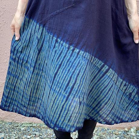 日頃の感謝を込めて大特価!!『一点物』藍染めワンピース杢目絞り胴斜め模様 着丈87cm 『一点物』
