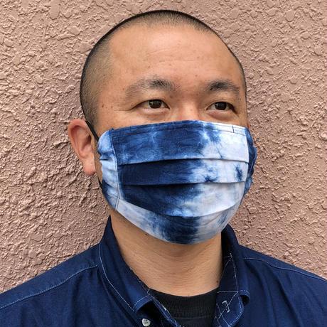 秋冬に最適!藍染めの保温性!藍染めプリーツマスク絞り染め柄  ノーズワイヤー入り
