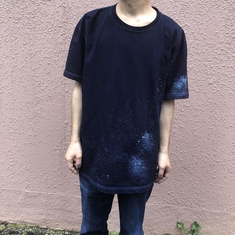 再製作!日頃の感謝を込めて大特価!!『一点物』&コロナに負けるな!!藍染め厚地Tシャツ XLサイズ 星空風流柄 男女兼用『一点物』