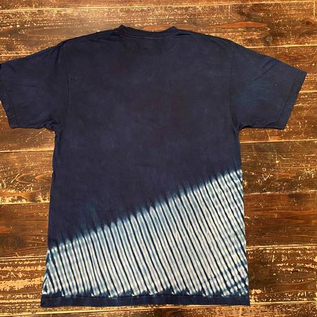 日頃の感謝を込めて大特価!!『一点物』藍染め胴斜め杢目絞りTシャツ XLサイズ  男女兼用『一点物』
