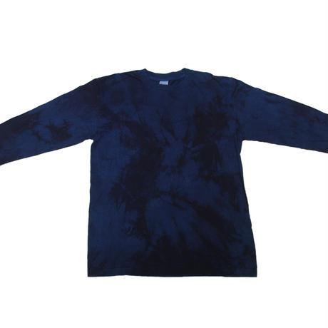 藍染めロングスリーブシャツ 二度染め絞り模様