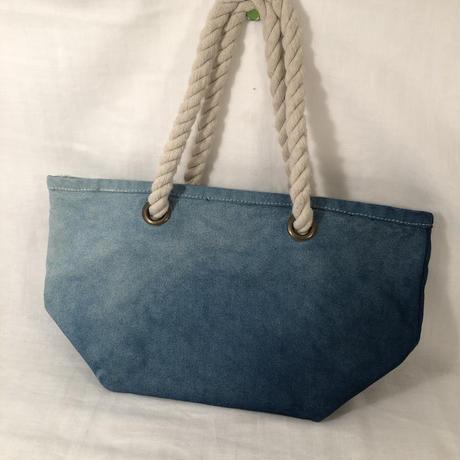 日頃の感謝を込めて大特価!!『一点物』&コロナに負けるな!!藍染めグラデーション キャンバスロープハンドルトートバッグ 『一点物』