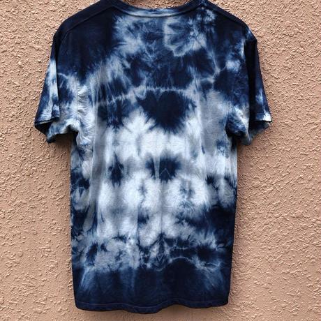 再製作!!日頃の感謝を込めて大特価!!『一点物』&コロナに負けるな!!藍染めVネックTシャツ XLサイズ 絞り模様 男女兼用『一点物』