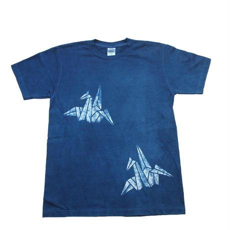 型染め「折鶴」藍染めTシャツ