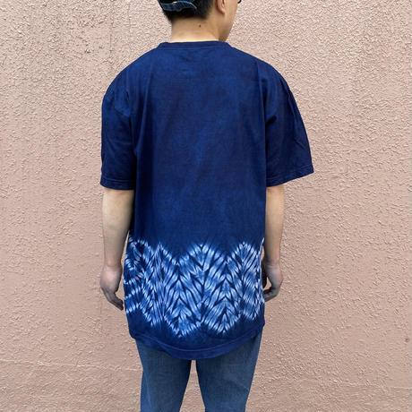 日頃の感謝を込めて大特価!!『一点物』藍染め杢目絞りTシャツLサイズ  男女兼用『一点物』