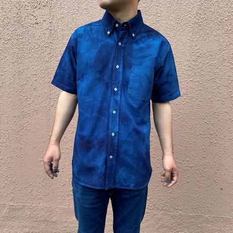 2021年定番!大特価!藍染めオックスフォード半袖Yシャツ 濃淡染め 男女兼用