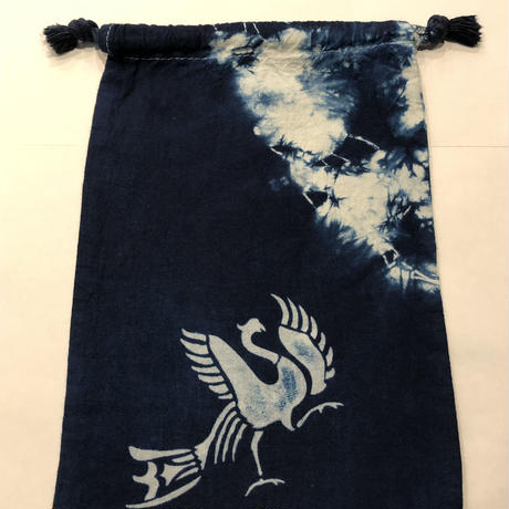 藍染め巾着「鳳凰」型染め デザイン