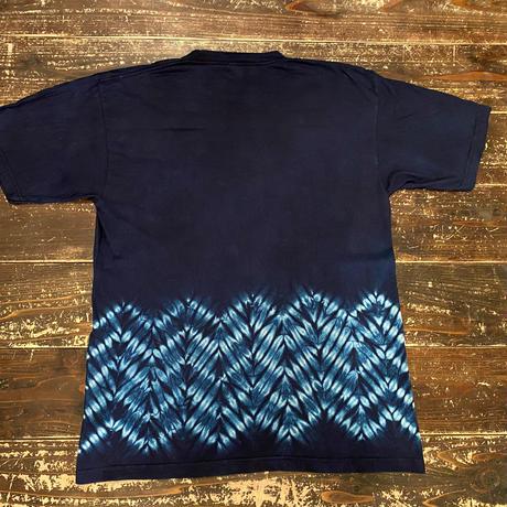 日頃の感謝を込めて大特価!!『一点物』藍染め杢目絞りTシャツXLサイズ  男女兼用『一点物』