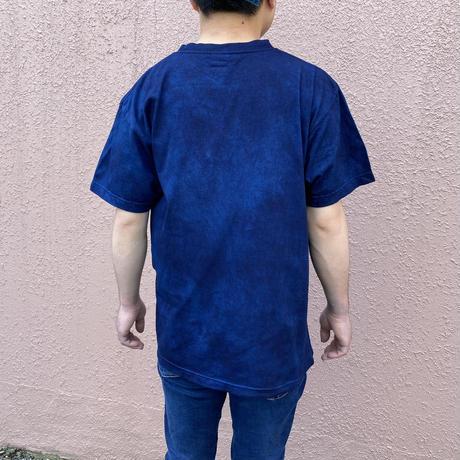 日頃の感謝を込めて大特価!!『一点物』藍染め唐松絞りTシャツ濃淡染め技法 Mサイズ  男女兼用『一点物』