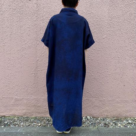 日頃の感謝を込めて大特価!!『一点物』藍染めワンピース 着丈115cm 濃淡染め技法『一点物』