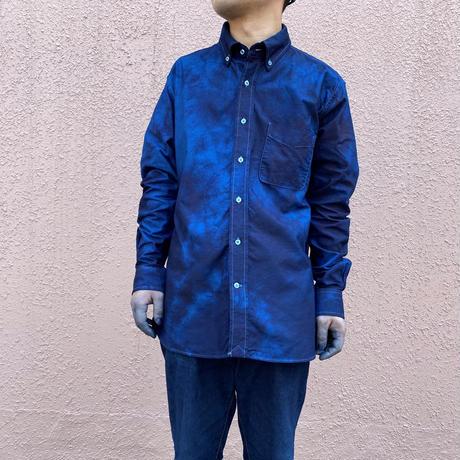 日頃の感謝を込めて大特価!!藍染めオックスフォード長袖Yシャツ 唐松絞り 幽玄夜空濃淡染め技法 男女兼用