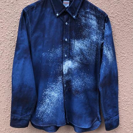 今だけ大特価!オールシーズンに活躍!藍染めオックスフォード長袖Yシャツ 星空風流柄 男女兼用