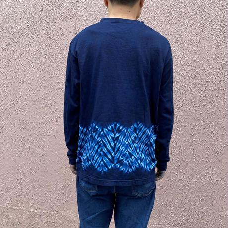 日頃の感謝を込めて大特価!!『一点物』藍染め杢目絞り長袖TシャツMサイズ  男女兼用『一点物』