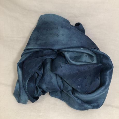 日頃の感謝を込めて大特価!!『一点物』&コロナに負けるな!!藍の生葉染め&本藍染め 二種染め技法シルクストール 大判  175×50cm『一点物』
