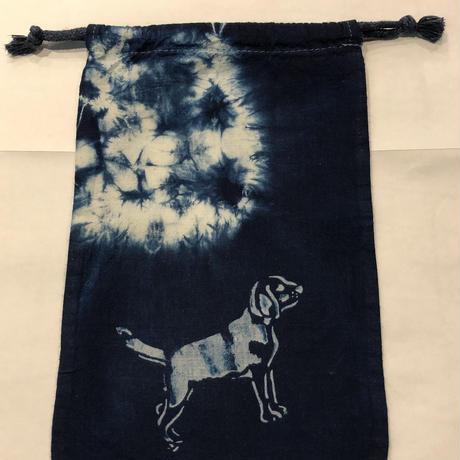 藍染め巾着「犬」型染め デザイン