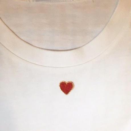 HAND EMBROIDERY RED HEART TEE 手刺繍ハートTee レッドゴールド