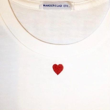 HAND EMBROIDERY RED HEART TEE 手刺繍ハートTee レッド